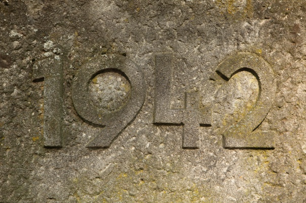 Year 1942 carved in the stone. The years of World War II.